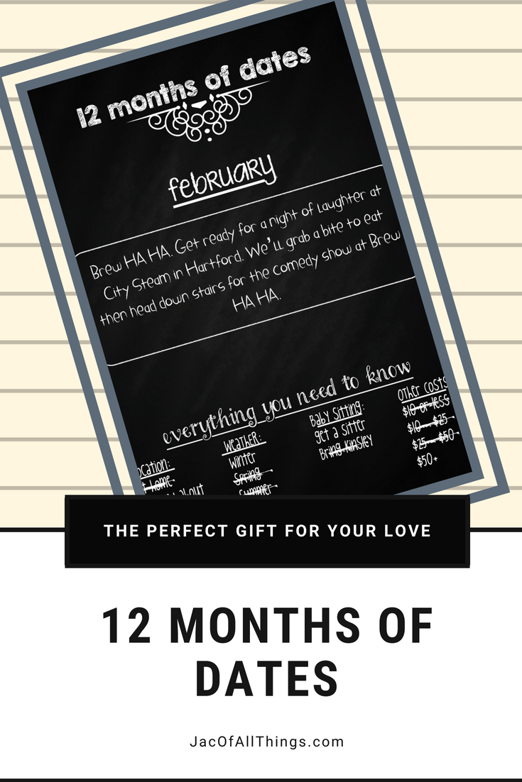 Put together 12 months of dates for the perfect gift for your husband or wife. A year's worth of date nights planned!
