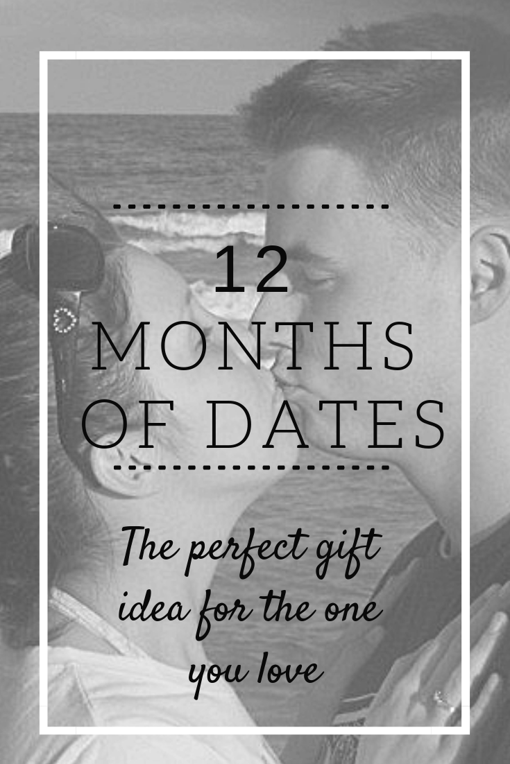 The perfect gift idea for your husband (or loved one). Put together 12 months of date nights! A great gift for Christmas, your anniversary, or Valentine's day! #datenight #dateideas #anniversary gifts #love