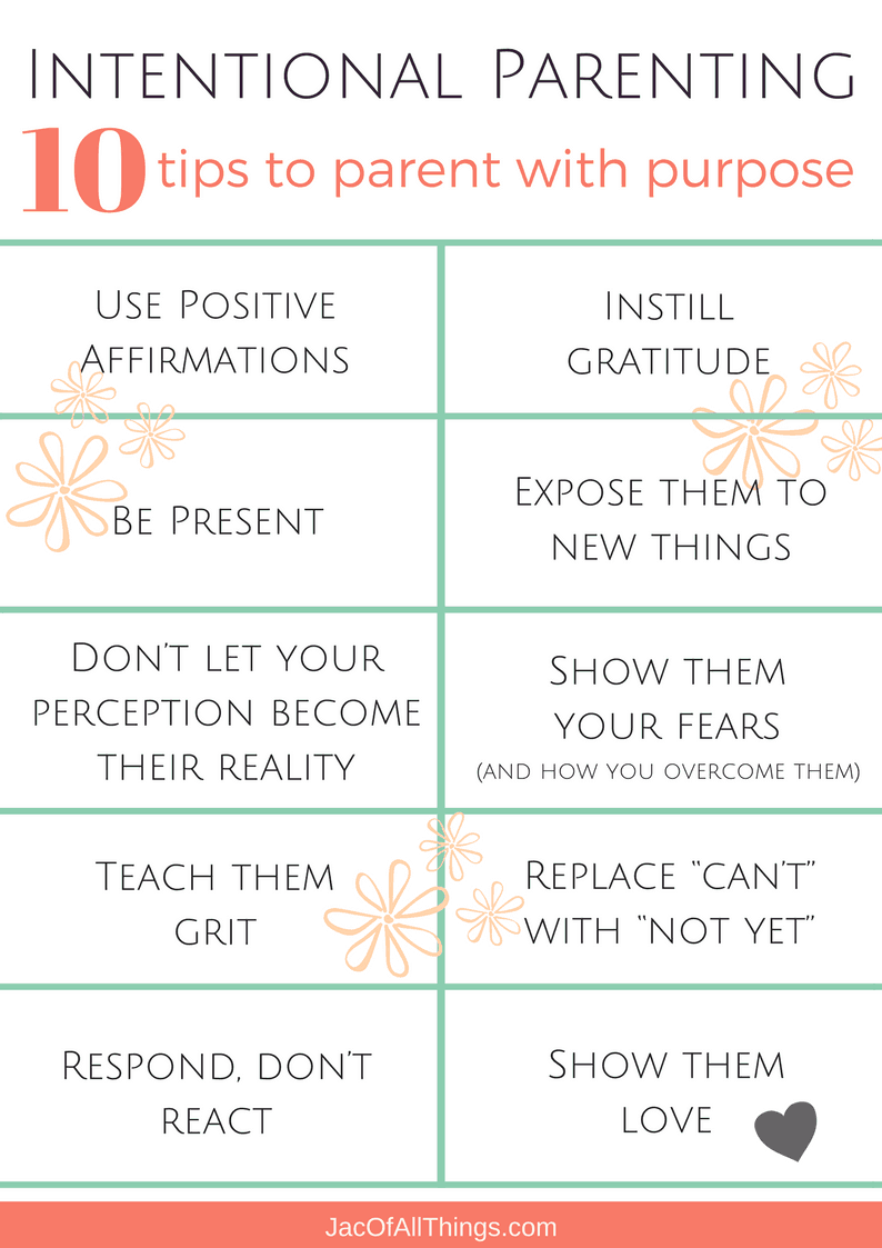 10 tips to intentional parenting and parent with a purpose. Read more on how to be mindful with parenting and be present with your children. Learn positive parenting approaches and ideas to be the best mom or dad to your kids. Free 10-day email challenge to put the tips into action and be a more intentional today.