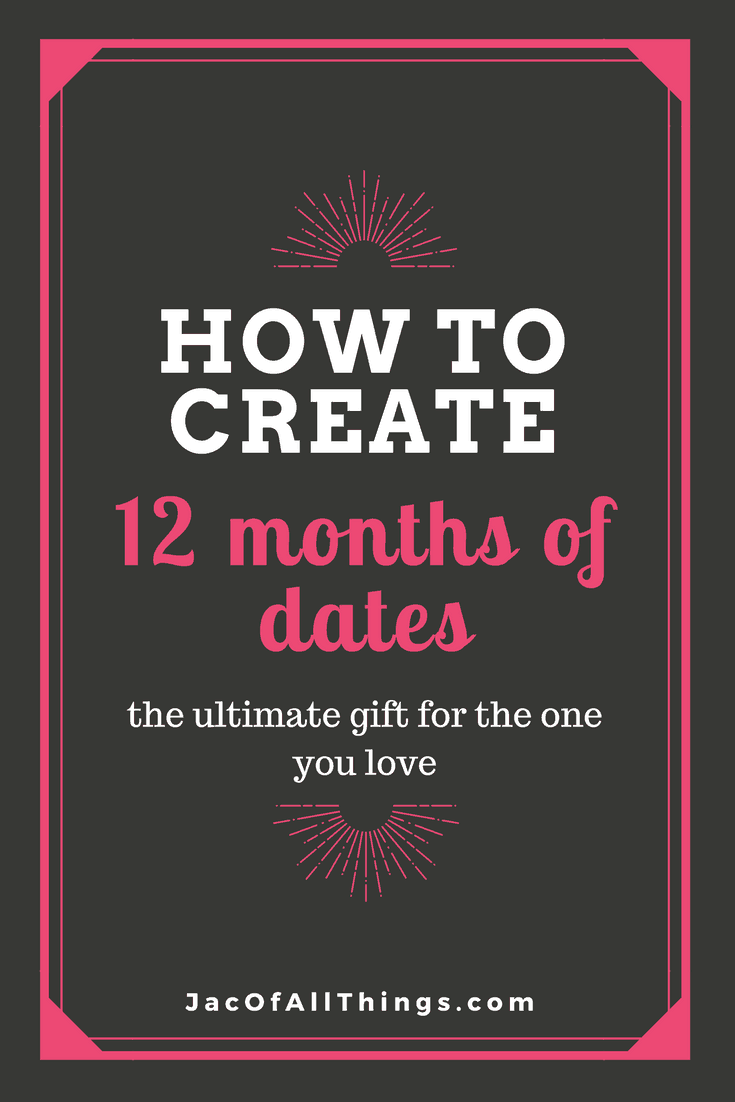 12 months of dates is the perfect date night gift idea for your husband, wife, boyfriend, or girlfriend. Put together a year of dates for ongoing fun activities to enjoy with your special someone. A great present for your anniversary, Christmas, Valentine's Day, Birthday, or just because.