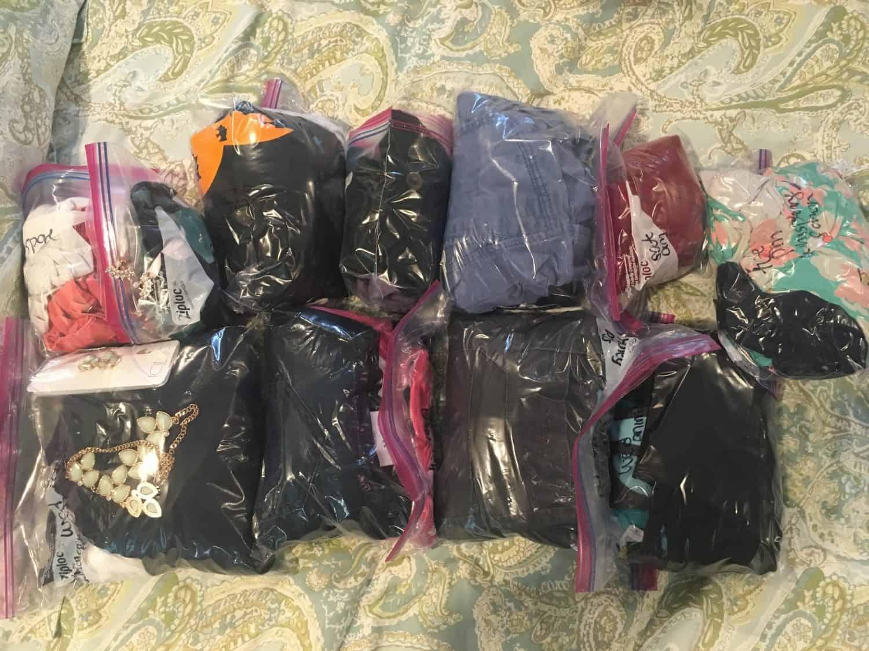 Packing in zip lock bags