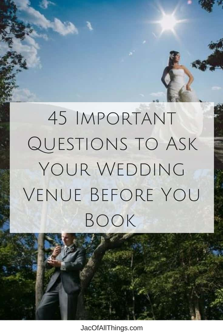 Deciding on a wedding venue is a big, important deal! You want to make sure you ask all the right questions during your site visit so you can ensure a smooth sailing wedding! Read on for a checklist of all the important wedding venue questions you should ask. (Even better, take this free printable pdf with you so you don't forget a question!) The most comprehensive wedding venue questions checklist!