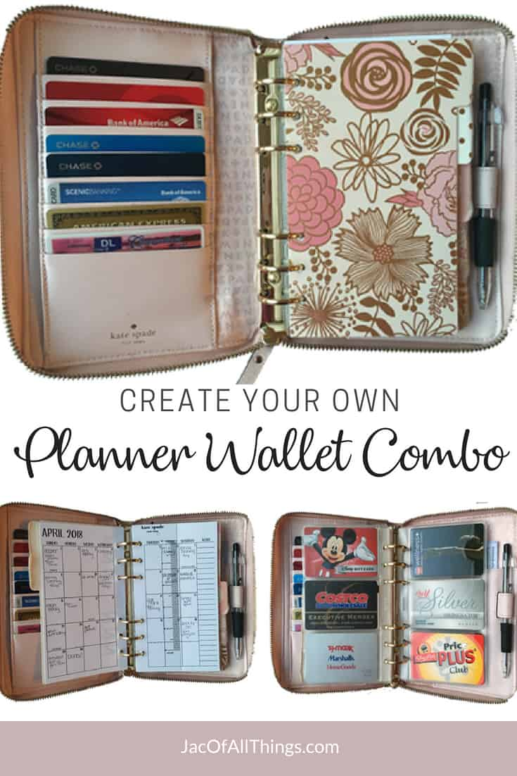 Learn how to make a fully customizable planner wallet combo! Take a look inside my personal sized leather Kate Spade planner to see how I was able to customize for my needs. Use these ideas to setup your own DIY planner wallet with everything that you need! It's the perfect size to fit in your purse and have your calendar at your fingertips! (And great if you follow Dave Ramsey's envelope system and need a place for your cash!)