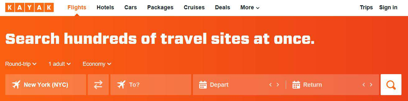 Search for airfare on Kayak.com