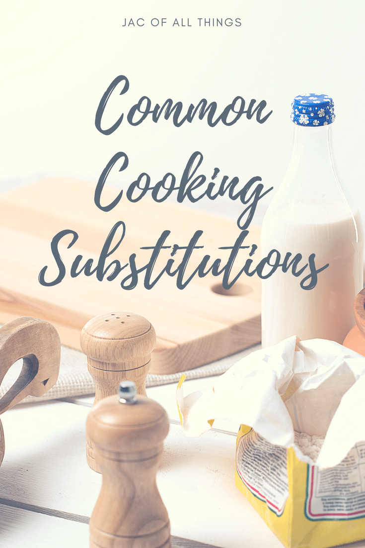 If you are out of a key ingredient when cooking, don't worry! There are plenty of healthy cooking substitutions that you can use in its place! Learn how to substitute for various spices, oils, egg, butter, and more! These substitutions are also great when you are looking for clean eating and healthy alternatives to your favorite recipes! #cookingsubstitutions #bakingsubstitutions #kitchenhacks