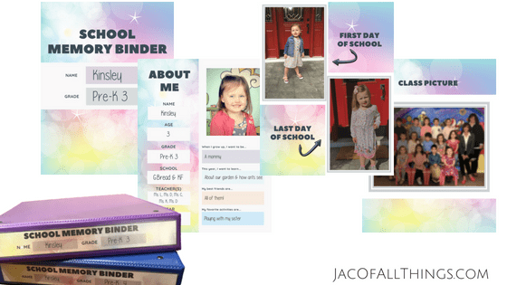 Here is a sample of my daughter's school memory binder with the free printable templates. This is perfect for keeping all of your important school documents and memories organized. #schoolorganization