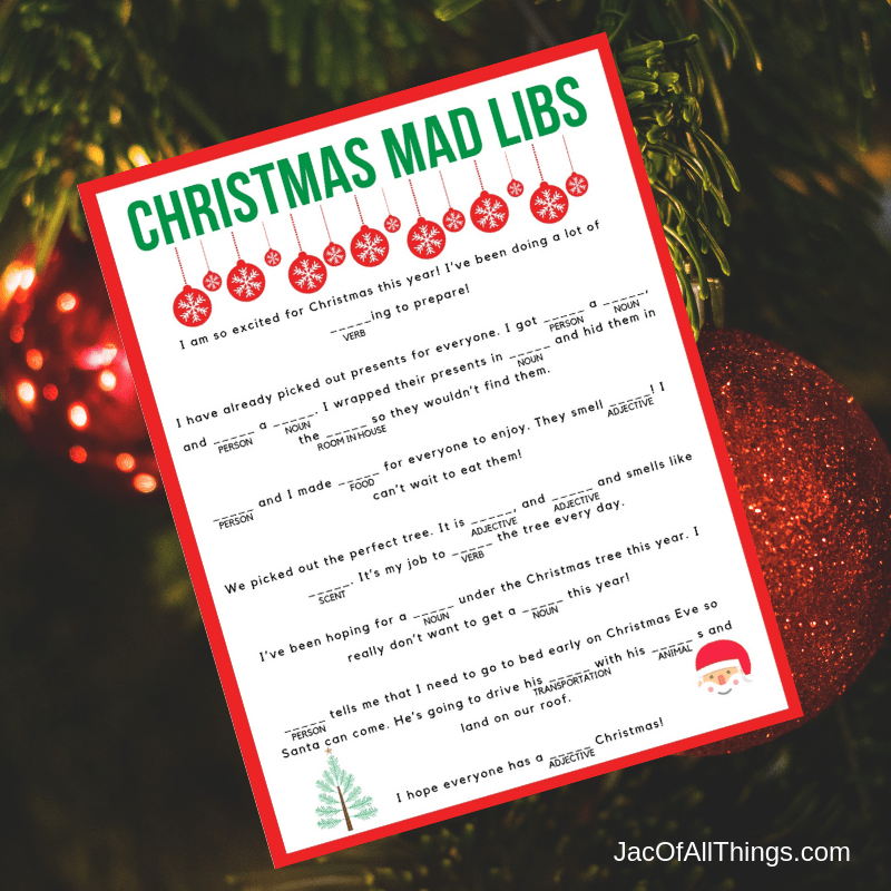 Hysterical and fun Christmas Mad Libs for kids to enjoy! Download your free printable worksheet now!