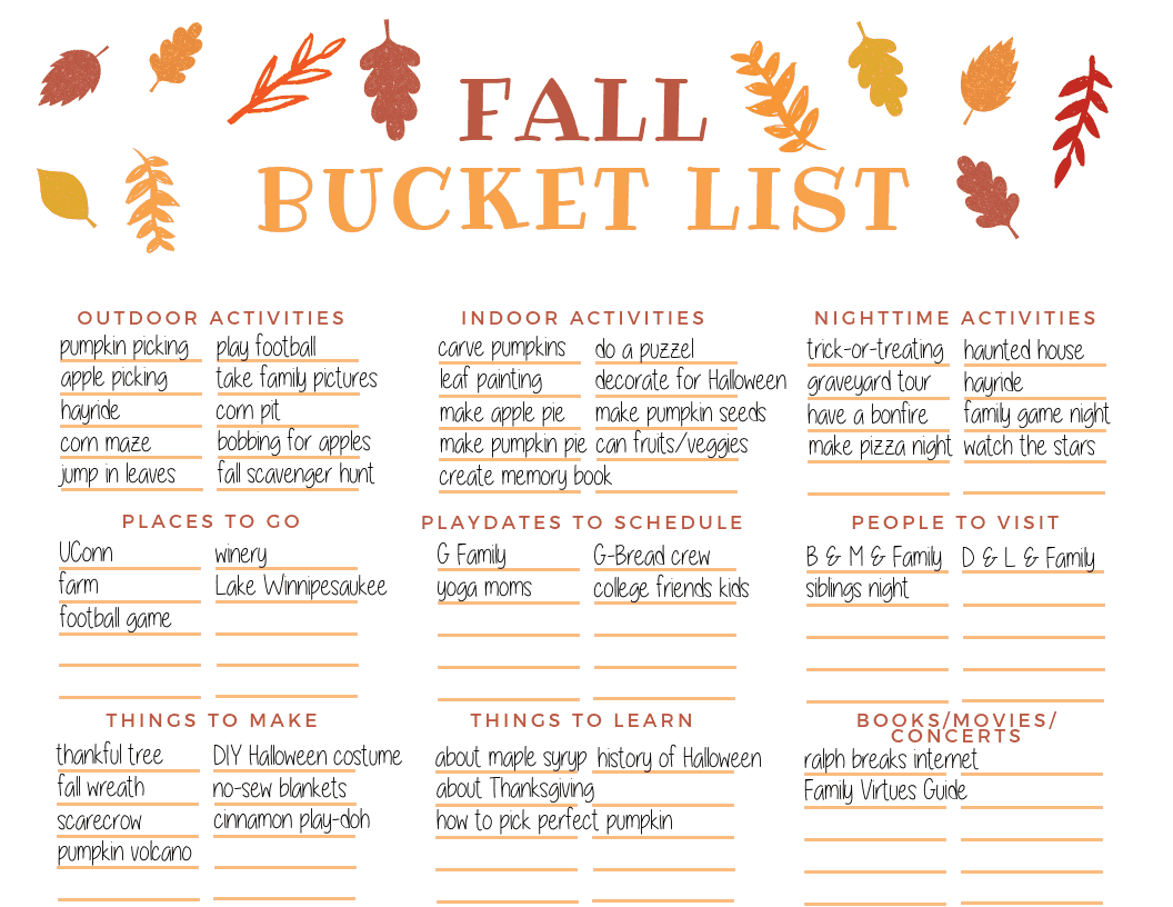 Our family's fall bucket list. For more ideas and to create your own fall bucket list, read the post! It includes fall activities for the whole family (including both indoor and outdoor activities) and access to your free fall bucket list printable.