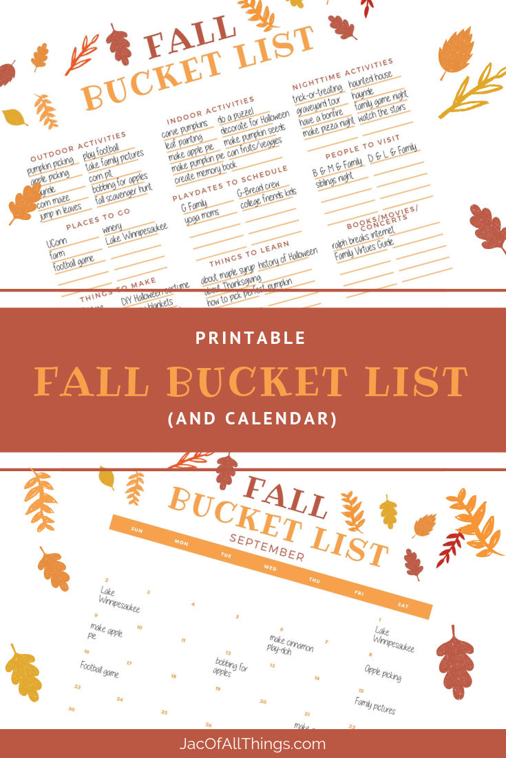 Create a fall bucket list with this free printable and calendar. Read more for a list of fun fall activities to do with kids or the whole family. #fallbucketlist #fallactivities