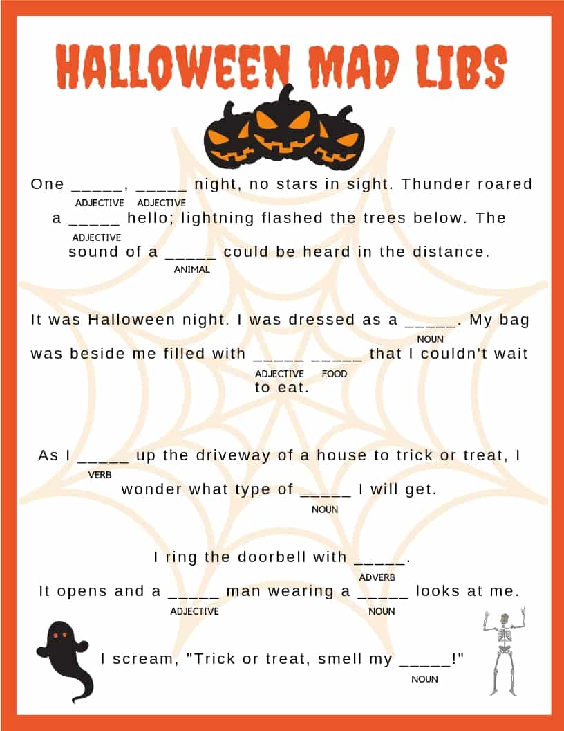 Enterprising image regarding halloween mad libs printable