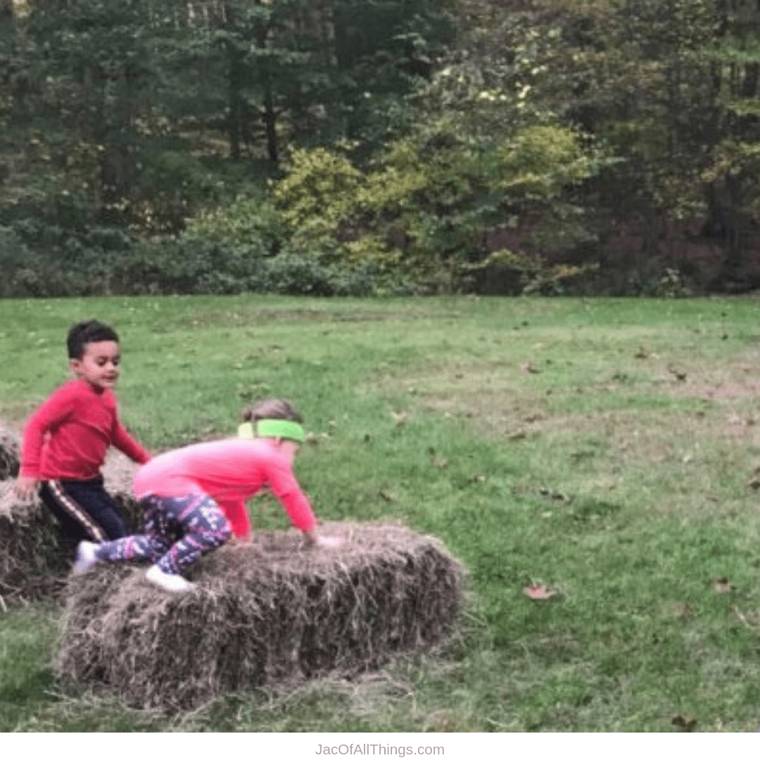 Backyard Obstacle Course Ideas - hay bales