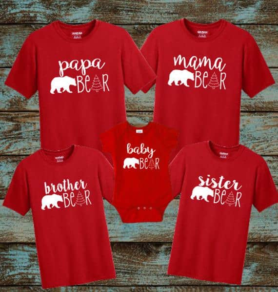Matching christmas pajamas red bear shirts from Etsy.