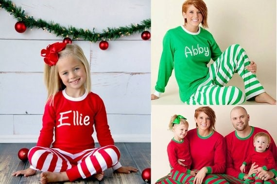 Striped Christmas Pajamas from Etsy. Matching Christmas pajamas for the whole family.