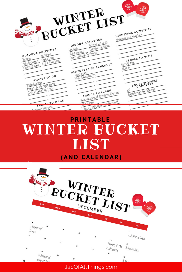 Create a winter bucket list with this free printable and calendar. Read more for a list of fun winter activities to do with kids or the whole family. #winterbucketlist #winteractivities