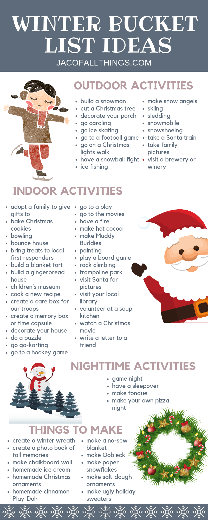 Have fun with your family this winter with these winter activities! Use these indoor and outdoor winter activity ideas to create your family winter bucket list! #winter #winteractivities #winterbucketlist