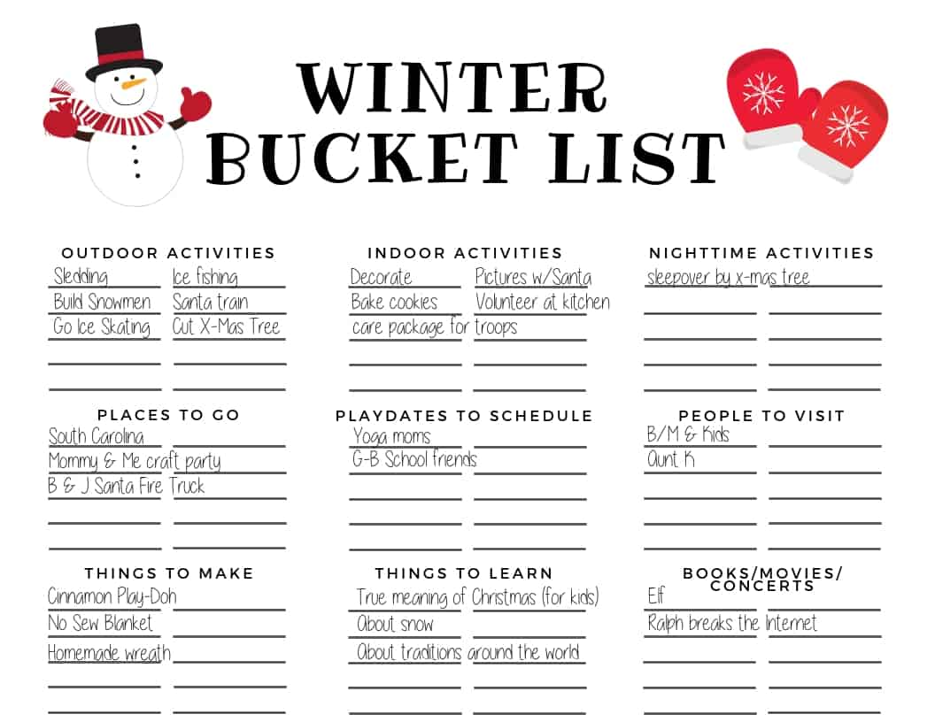 Our family's winter bucket list. For more ideas and to create your own winter bucket list, read the post! It includes winter activities for the whole family (including both indoor and outdoor activities) and access to your free winter bucket list printable. #winter #winterbucketlist #winteractivities