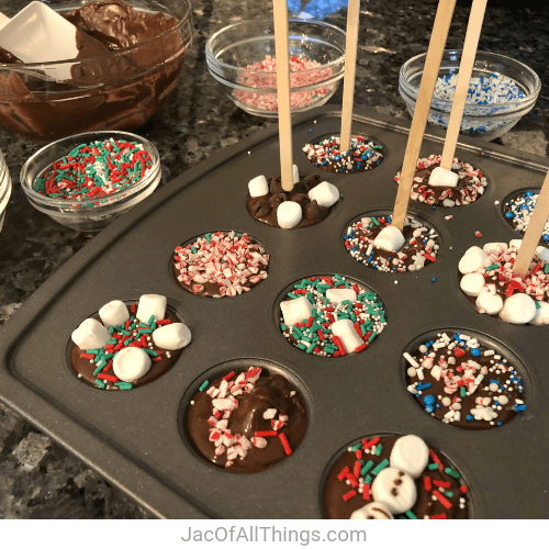 Place wooden sticks or spoons in your hot chocolate stirrers.