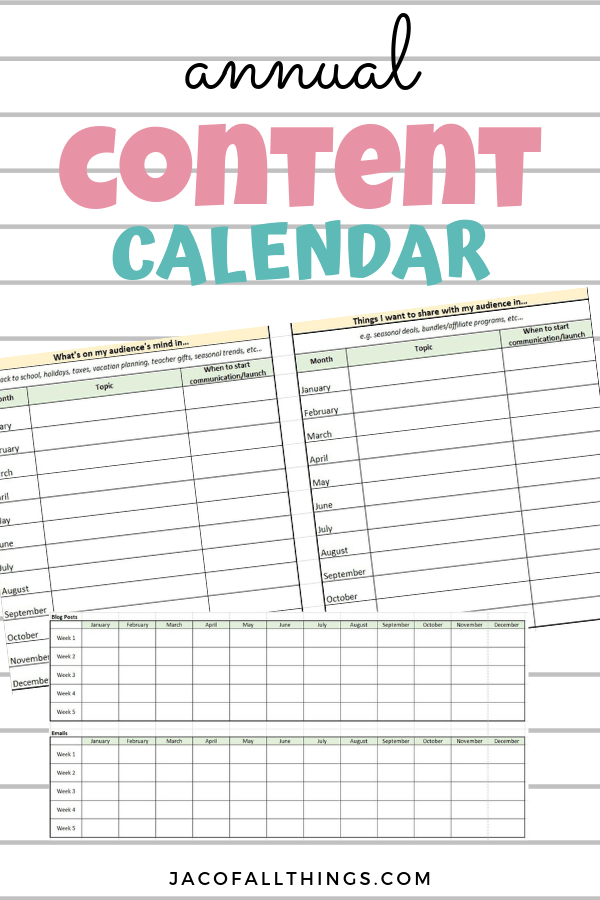 Use this guide to create your annual content calendar! Plan out in advance all of your content and materials for blog posts, emails, social media, and more!