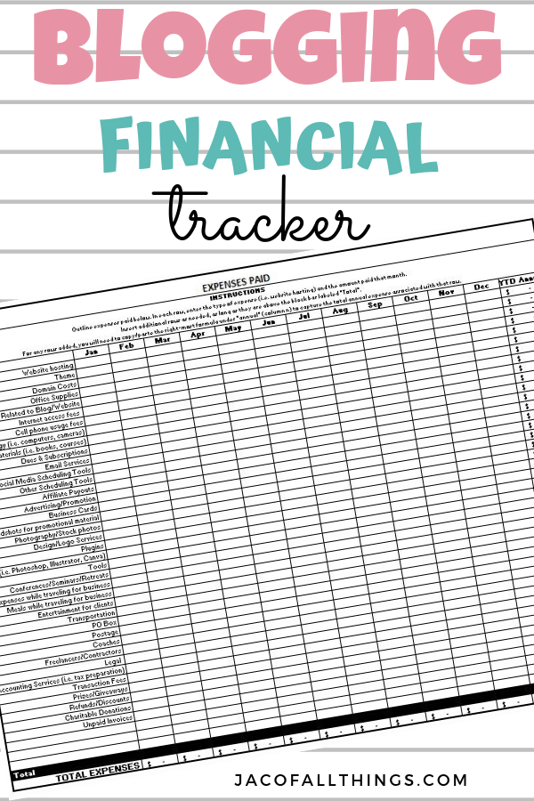 A must have for every blogger! Use this financial tracker to keep track of your revenue and expenses through the year. Especially useful for tax time! #bloggingresources #bloggingtracker