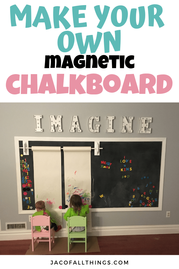 Everything you need to know to make your own DIY magnetic chalkboard wall! This is perfect for playrooms and is SO easy to make! Read on for complete directions on how we created this inexpensive chalkboard for the kids. #chalkboard #chalkboardwall #playroomideas