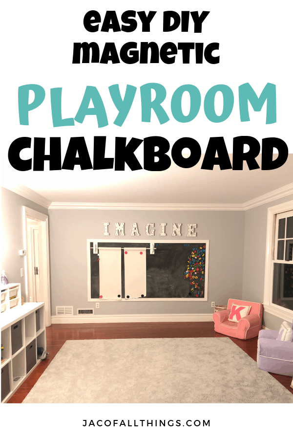 Learn how we made a chalkboard wall in our playroom! This easy step-by-step tutorial will walk you through exactly how to build your own magnetic chalkboard wall in your house! Simple, inexpensive, and a fun idea for your playroom! #playroomideas #playroomdecor #chalkboard