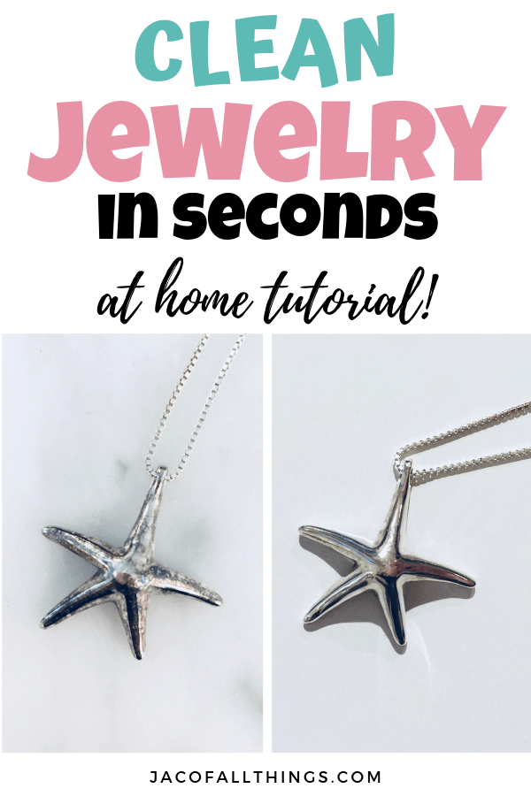 Learn how to clean your jewelry in seconds using this at home cleaning method with everyday household ingredients. Watch your silver get sparkly again and look like new! #cleaningtips #jewelrycleaner