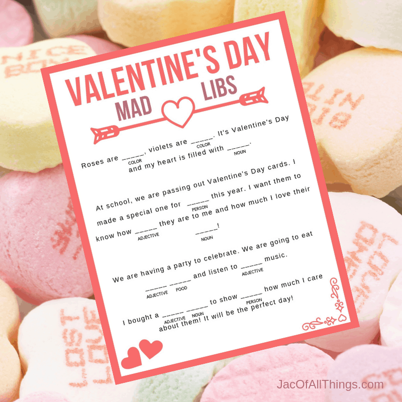 This Valentine's Day Mad Libs is fun for the whole family! Download your free printable today! A perfect Valentine's Day activity for kids to do in school or at home! #valentinesday #valentinesdayprintables