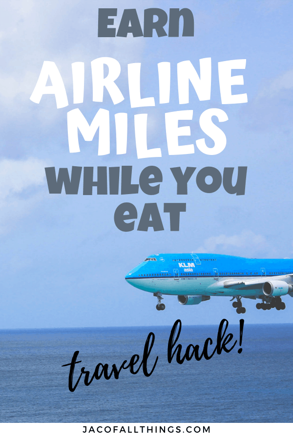 Travel trip alert! Save money on your next trip by earning miles to your favorite airline by dining out! Learn how simple it is to earn miles for your everyday dining! A must travel hack for everyone! #traveltips #travel #travelhack