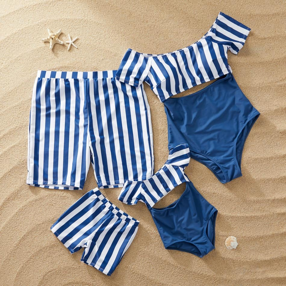Blue Striped Matching Bathing Suit