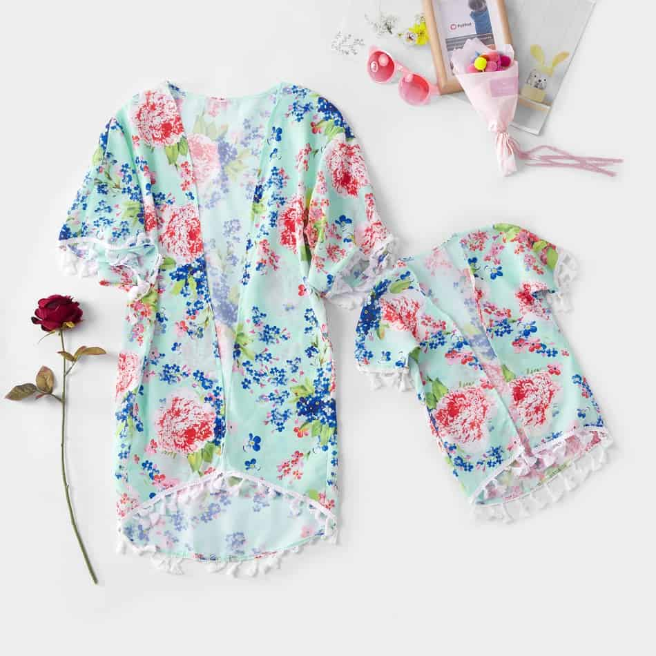 Floral Matching Cover Up Bathing Suit