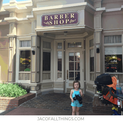 Outside of Harmony Barber Shop on Main Street Disney World