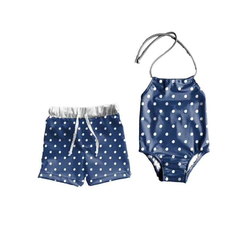 LilBooApparel Blue Dots Matching Bathing Suits
