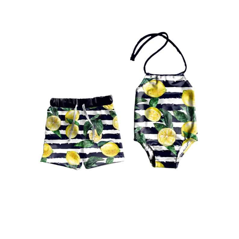 LilBooApparel Lemons Matching Bathing Suits