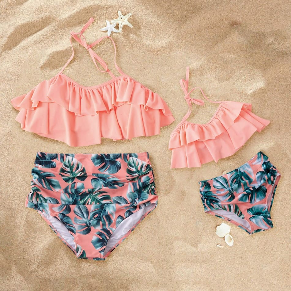 Pink Floral Matching Bathing Suit
