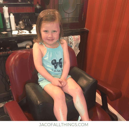Pixie dust put in hair after haircut at Disney World