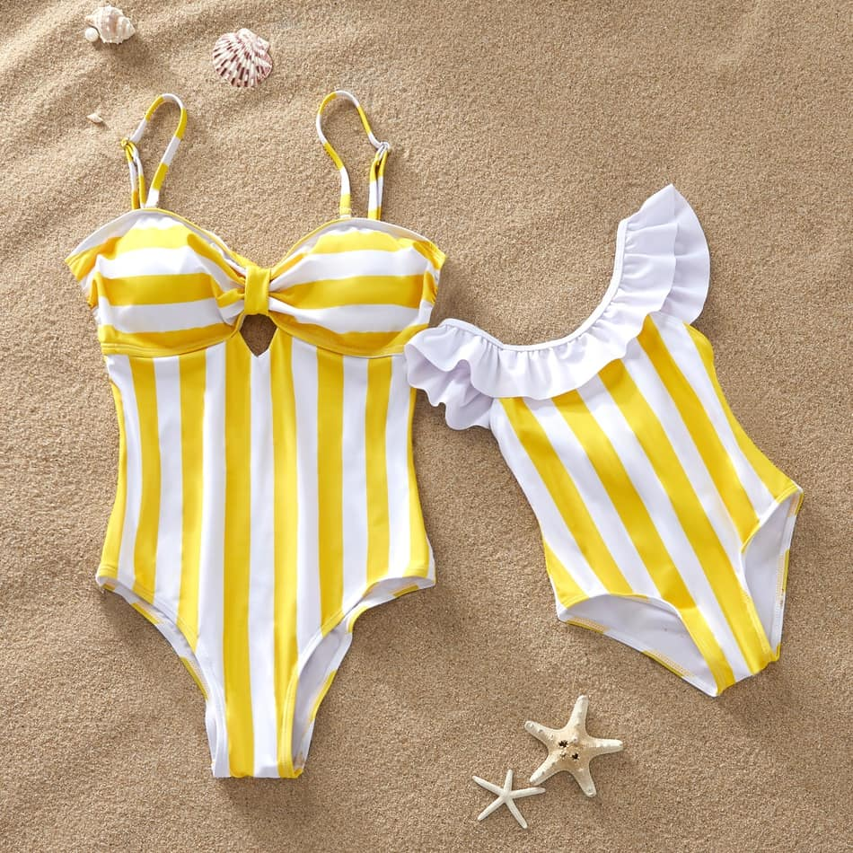 Striped Yellow Matching Bathing Suit