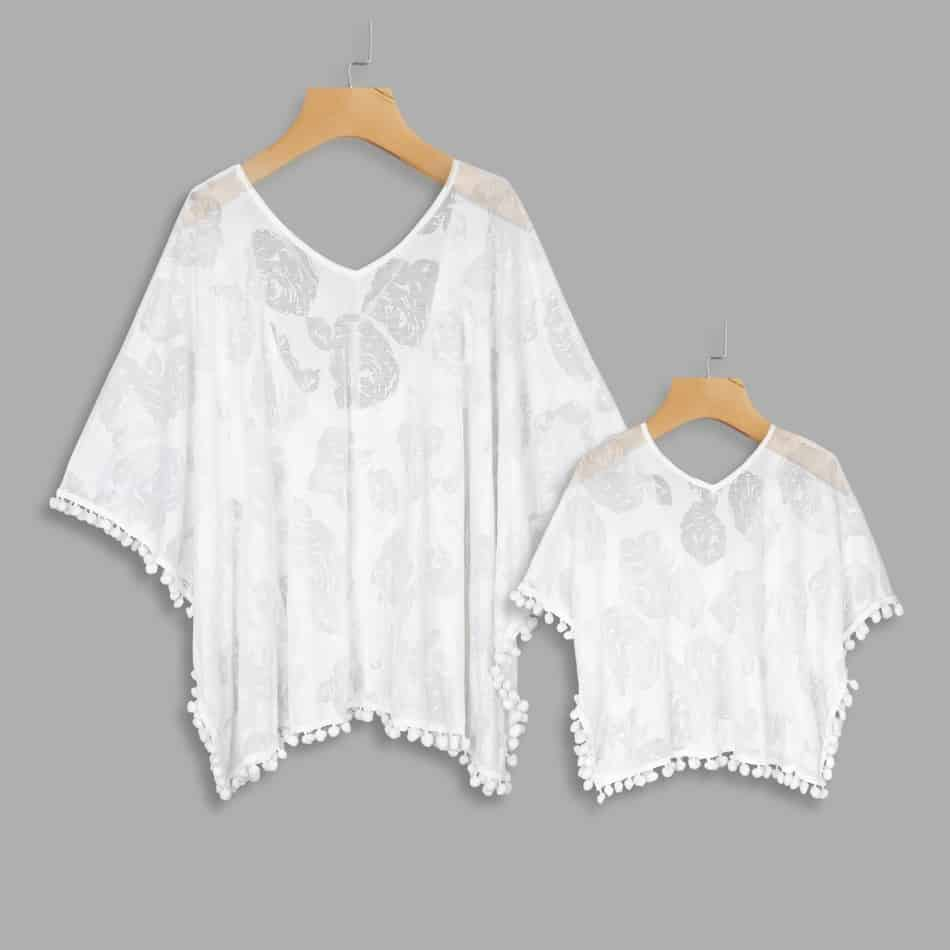 White Matching Cover Ups for Swim