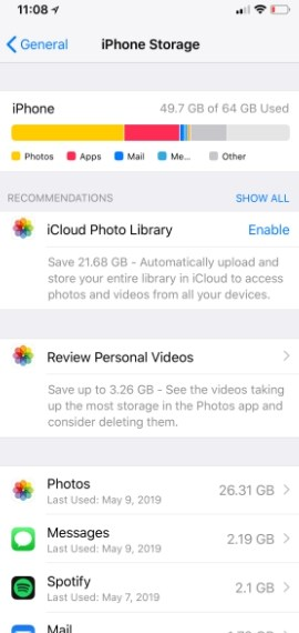 How to check your iPhone storage part 2