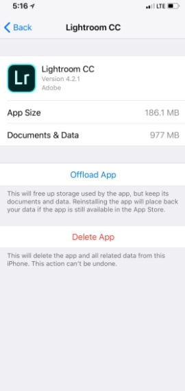 Offload Apps to Reduce size on iphone
