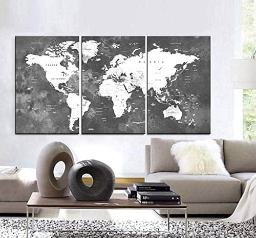 Large 3 Panel Canvas World Map