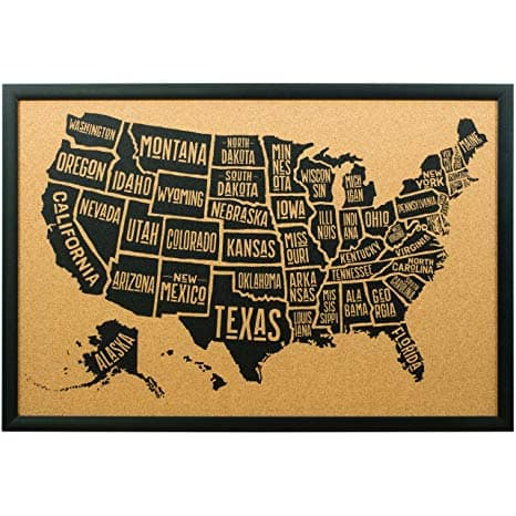 Cork Board Typographic United States Map