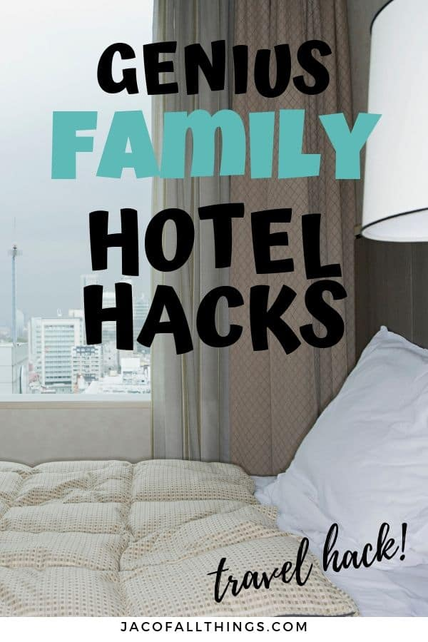 These genius hotel hacks for families will make your next hotel stay amazing! Traveling with kids is so much better with these great tips and tricks for hotel stays to use on your next vacation. #traveltips #hotel #hoteltrips #hotelhacks