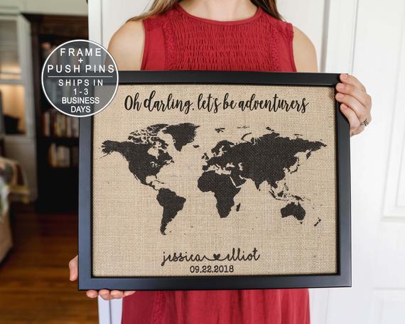 Burlap Personalized World Map