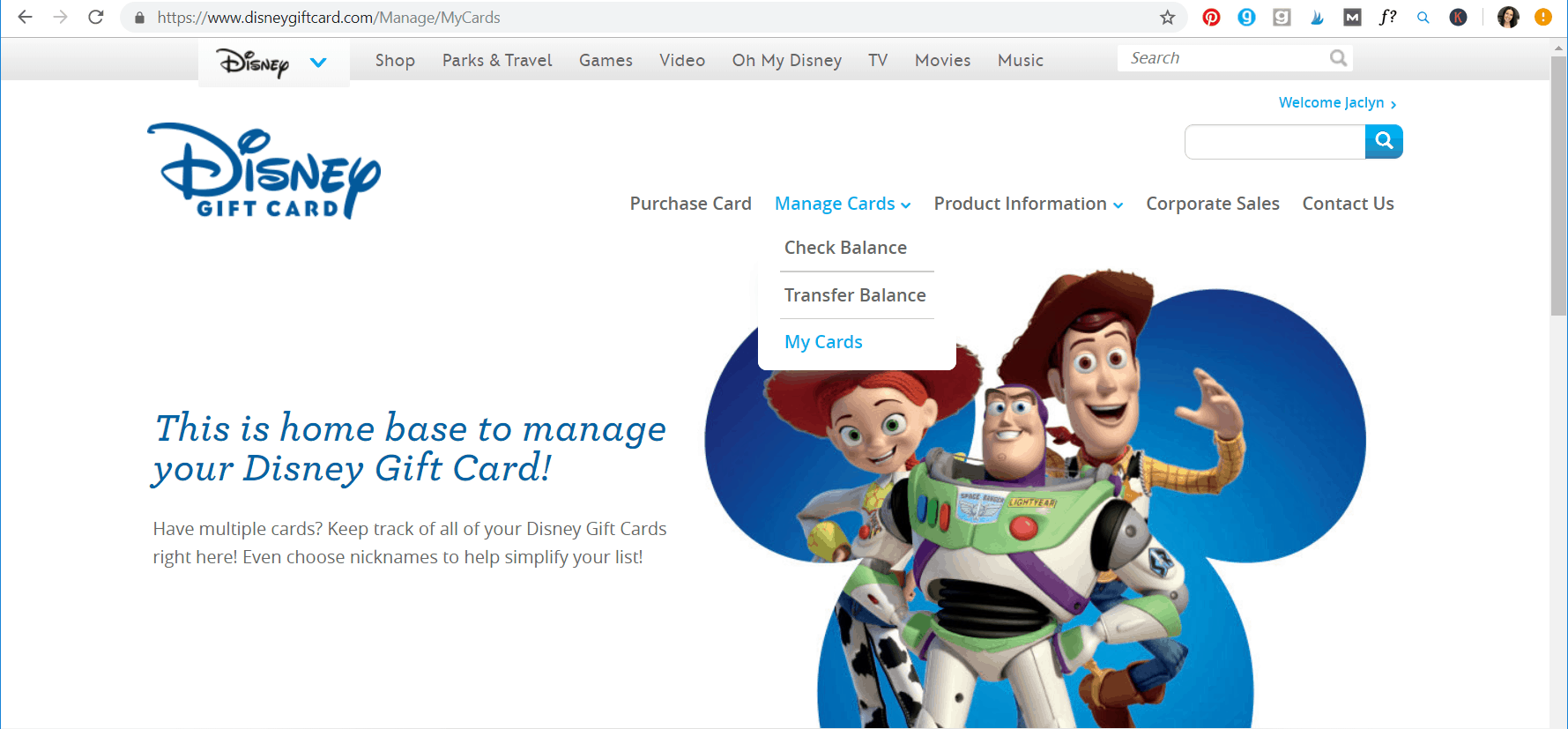 manage Disney gift card