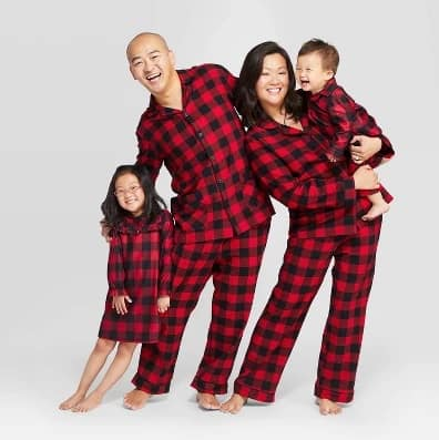 Target buffalo plaid matching Christmas pajamas for the whole family!
