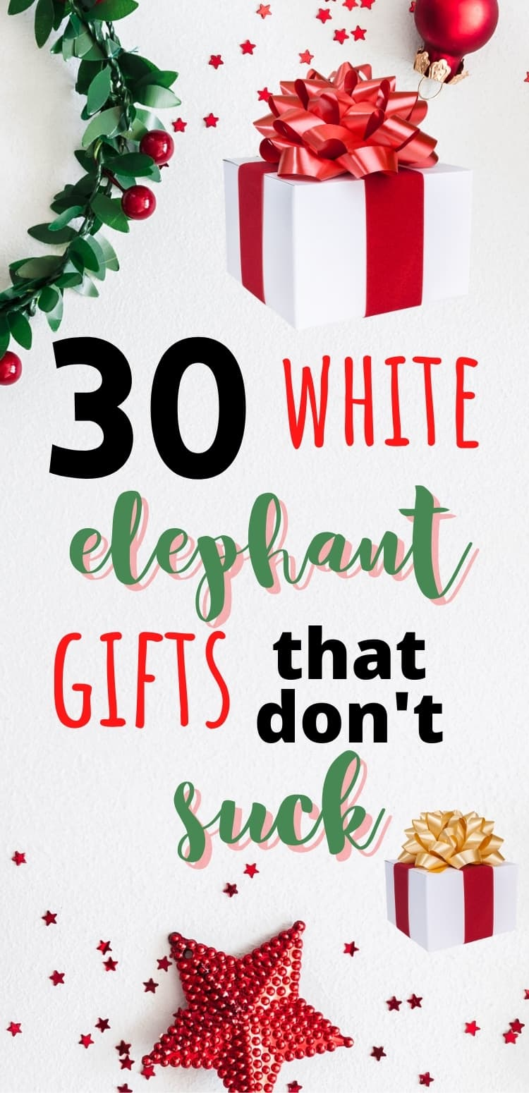 Don't be that person at your next White Elephant or Yankee Swap. Show up with a gift that everyone loves with these 30 white elephant gift exchange ideas! Perfect for coworkers, family, friends, and more this Christmas and holiday season.