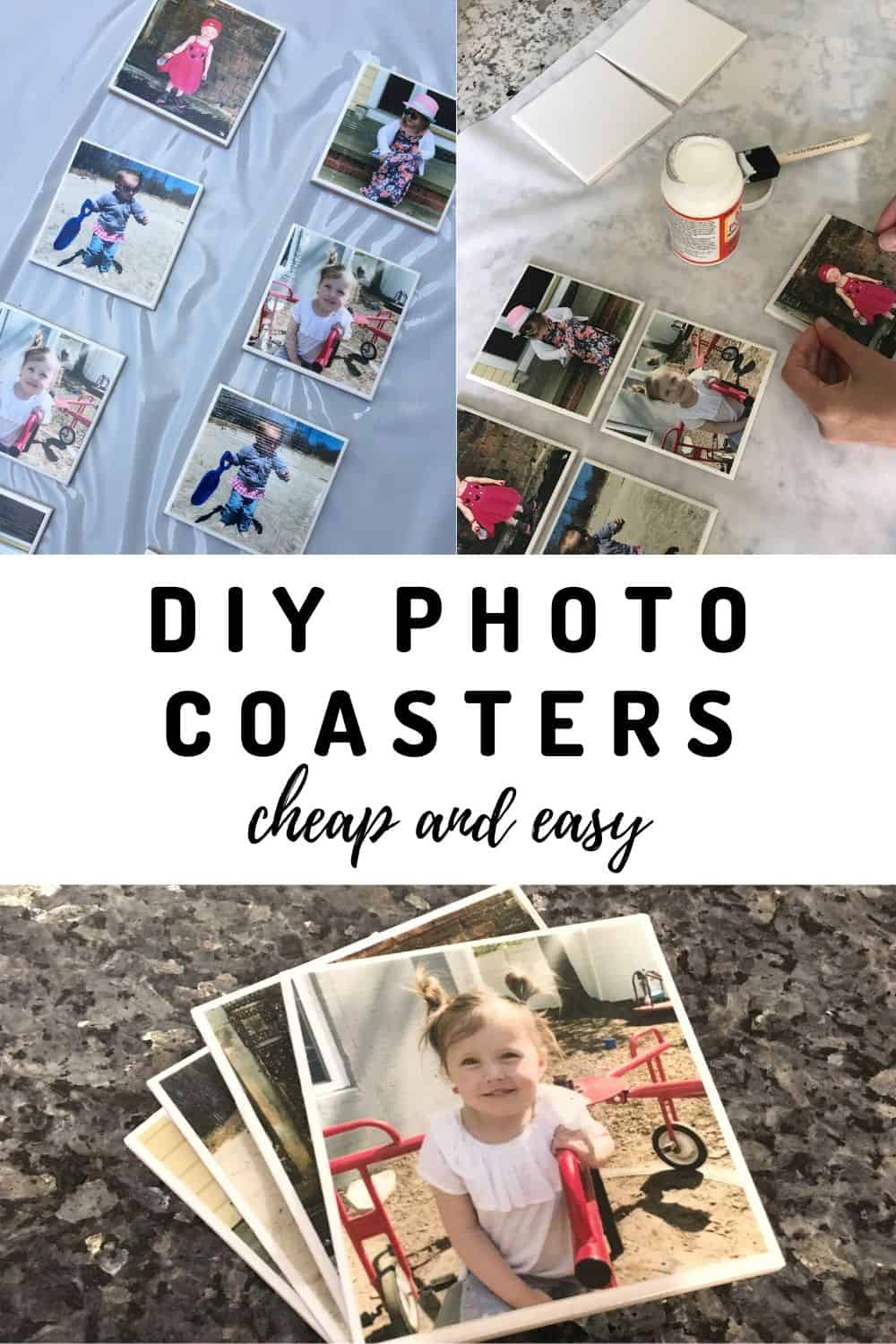 DIY photo coasters are the perfect homemade gift for Mother's Day, Father's Day or any other holiday!