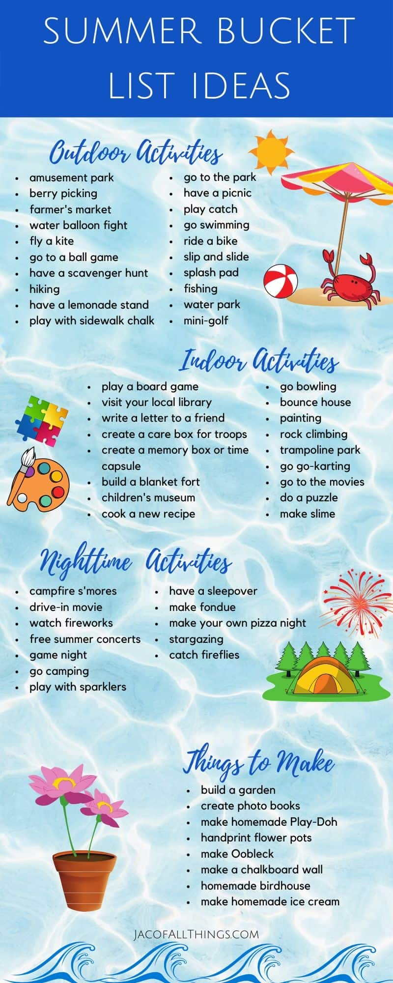 Have fun with your family this summer with these summer activities! Use these indoor and outdoor summer activity ideas to create your family summer bucket list!