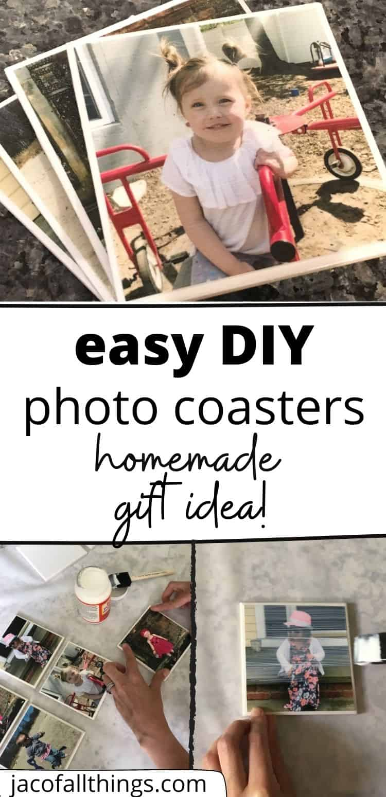 Homemade DIY photo coasters are the perfect gift! You can personalize them with any picture you'd like! Learn how to make photo coasters out of tile in this simple tutorial that will take you just minutes to complete. This is the perfect gift for Mother's Day, Father's Day, for Grandparents, Birthdays, Anniversaries, and even house-warming gifts! The perfect inexpensive gift!